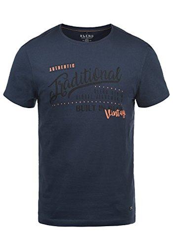 Blend Doppler Herren T-Shirt Kurzarm Shirt Mit Print Und Rundhalsausschnitt Aus 100% Baumwolle, Größe:M, Farbe:Mood Indigo (74648)