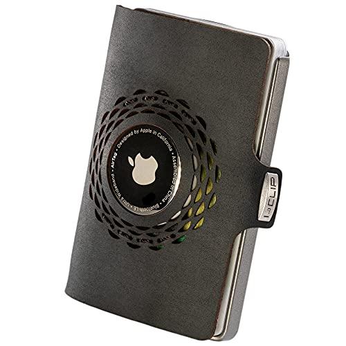 I-CLIP Original Silver Radio Impact Black, Kompatibel mit Apple AirTag* Geldbörse, Kartenetui, Geldbeutel, Wallet