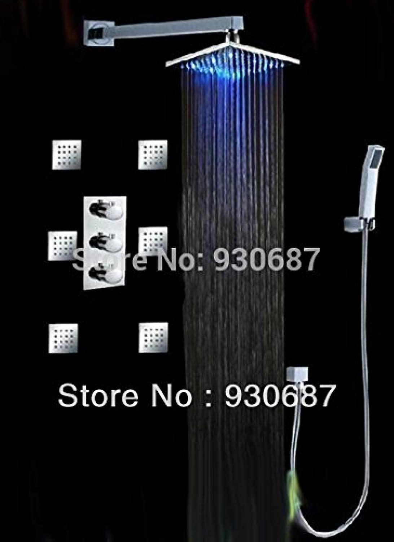 Galvanik Retro Wasserhahn Hand Temperatur Contral Dusche Wasserhahn 8 Zoll ABS Dusche + Badewanne und abnehmbarem Duschkopf, weie LED