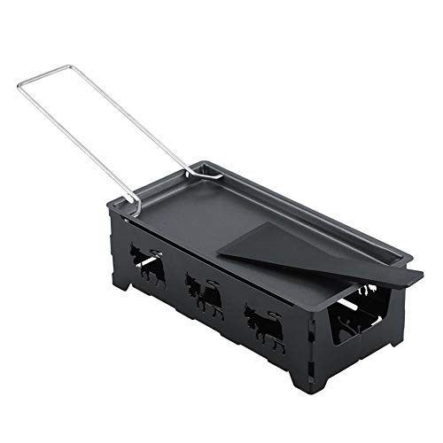 DEWIN Mini Raclette,Raclette to Go Mini Tragbare Non-Stick Käse Raclette, Rotaster Backblech Herd Set Home Küchen Grilling Werkzeug