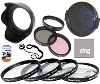58mm Multi-Coated 7 Piece Filter Set Includes 3 PC Filter Kit (UV-CPL-FLD-) And 4 PC Close Up Filter Set (+1+2+4+10) For Olympus M.Zuiko 40-150mm f/4.0-5.6 R Micro ED Digital Zoom Lens + Hard Tulip Lens Hood+ Lens Cap + Cap Keeper + MicroFiber Cleaning Cloth + LCD Screen Protectors