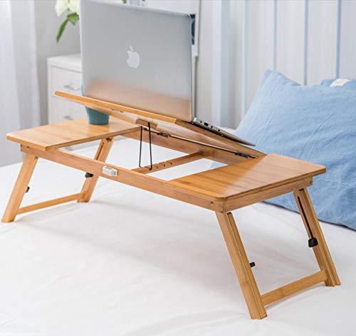 HCYTPL bijzettafel voor laptop, bamboe, opvouwbaar, voor bureau, laptop, computerbureau, studentenbureau, kantoor, slaapkamer