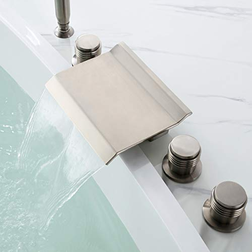 Jiuzhuo Modern Waterfall Deck Mount 5 Hole Roman Tub Filler Faucet with Hand Shower,Brushed Nickel