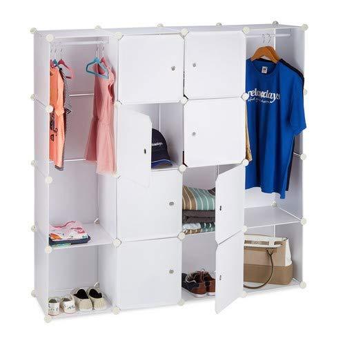 Relaxdays Kleiderschrank Stecksystem mit 12 Fächern, großer Garderobenschrank aus Kunststoff, 145,5 x 145,5 cm, weiß