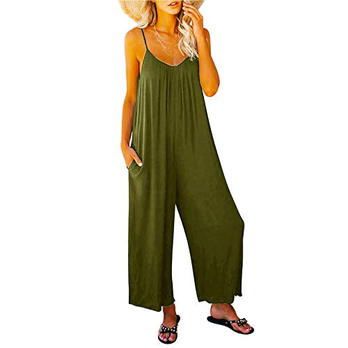 MZCC Knit Jumpsuit,Women's Floral Printed Jumpsuits Solid Rompers Casual Comfy Striped Jumpsuit with Pockets Green M
