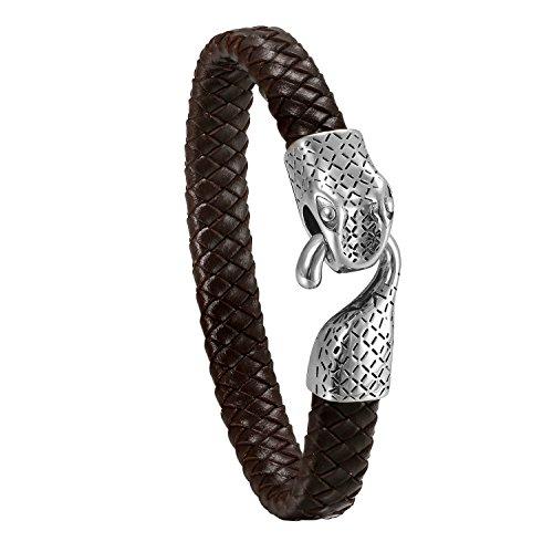 JewelryWe Schmuck Herren Armband, Gotik Edelstahl Schlange geflochten Leder Armband Armreif, Braun Silber