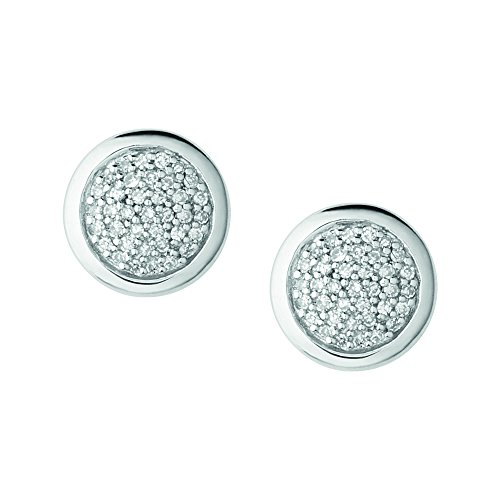 Links of London Diamond Essentials Sterling Silver and Pave Round Stud Earrings