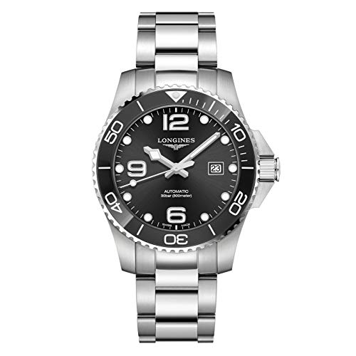 Longines - Reloj Hydroconquest de cerámica automático, Color Negro, 43 mm de Largo