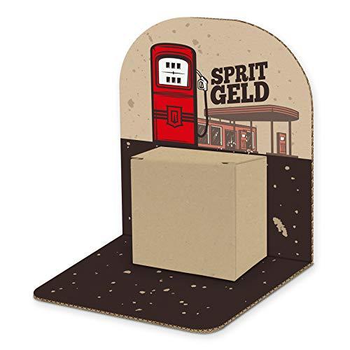 itenga Geldgeschenk Basic I Motiv Tankstelle/Spritgeld I Mitbringsel I Gutschein I Geschenkverpackung zum Aufstellen inkl. Geschenkbox