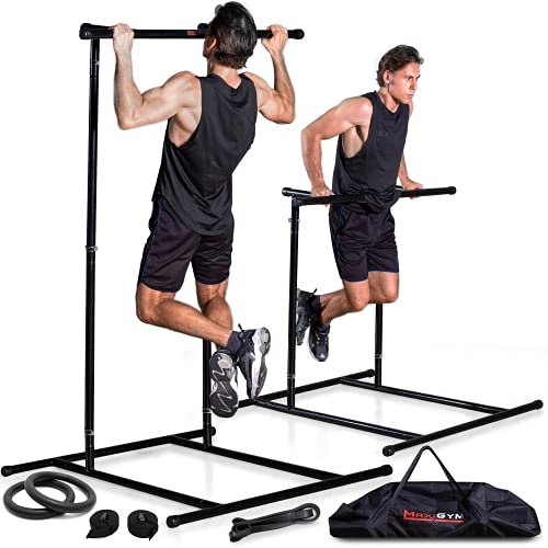 MaxiGym Portable Pull Up Bar [2021 Version] - with Rings & Resistance Band - Mobile Free-Standing Pull Up Bar for Workout on The Go, Quick Assembly No Tools Required - Freestanding Pullup & Dip Stand
