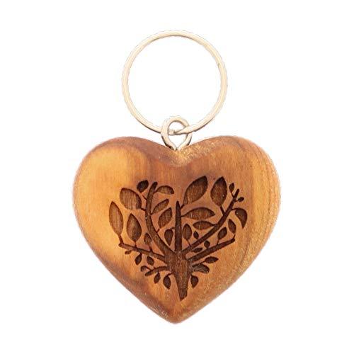HOFMEISTER® Schlüsselanhänger Herz mit Gravur Baum, Kirsch-Holz, 5 cm
