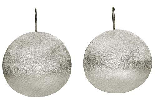 SILBERMOOS Damen Ohrhänger Hänger rund Scheibe gebogen gebürstet 925 Sterling Silber Ohrstecker