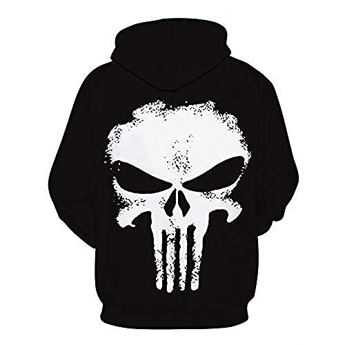 yyqx container Pullovers 3D Printing Hoodies White Skull Print Streetwear with Front Big Kangaroo Pockets-3XL