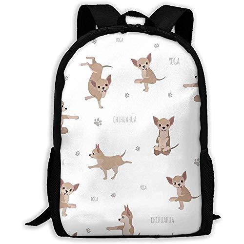 Wobuzhidaoshamingzi Schoolrugzak, yoga, honden poses en oefeningen Chihuahua Bookbag Casual reistas voor volwassenen