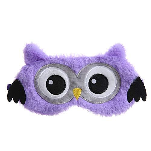 Dodheah Schlafmaske Kinder Frauen Mädchen Augenmaske 3D Süße Einhorn Plüsch Schlafmasken für Reisen Nickerchen Nacht Lila Eule