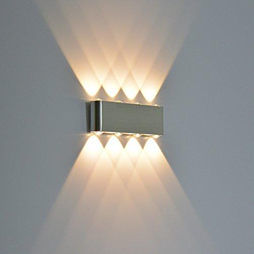 Wall Scone Light, Alotm 8W LED High Power up Down Spotlight Modern Aluminum Fixture Decorative Lights Lamp for Home, Bedroom, Dinning Room, Restaurant, Bar, Corridor, Theater - AC85-265V (Warm White)