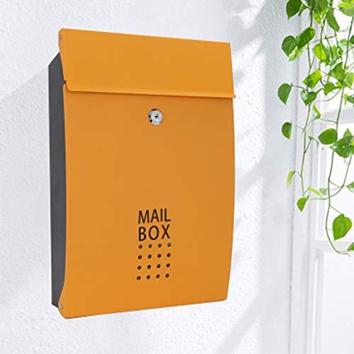 JXXDDQ An der Wand befestigter Briefkasten, verschließbarer Eisen-Briefkasten im Freien, wetterfester Edelstahl-Briefkasten Diebstahlschutz-Briefkasten (Farbe : Orange)