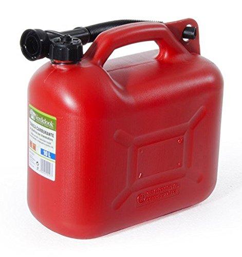 VERDELOOK Tanica in plastica Rossa per Carburante con boccaglio, capienza 10 Litri