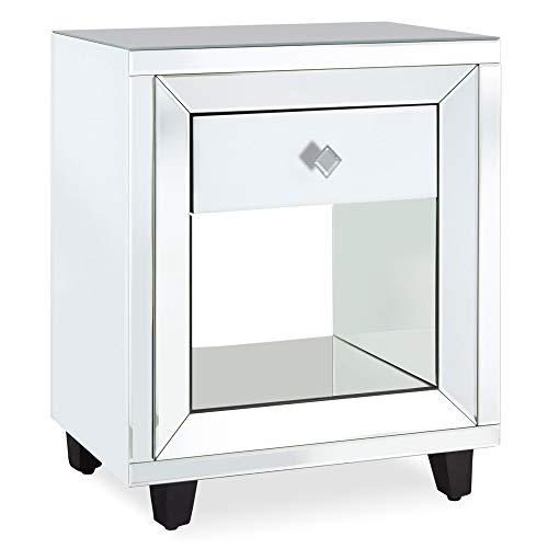 Beautify Mirrored Bedside Table With 1 Drawer – White And Mirror Nightstand With Storage Shelf – Bedroom Furniture
