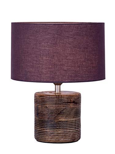 Tischleuchte Nachttischlampe ø 30 x H 38 cm Tischlampe Dekolampe mit Holzsockel gedrechselt