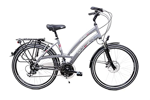 26 Zoll Alu Fahrrad Damen Trekking Bike Shimano 24 Gang Nabendynamo Disc grau