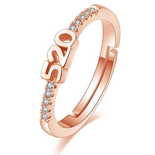 WEFH Número 520 Diamante Apertura Anillo para Mujer Joyas Creativas para el día de San Valentín, Oro Rosa