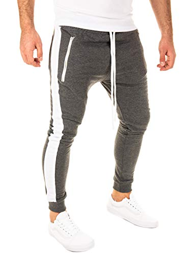 PITTMAN Herren Jogginghose Retro mit Streifen Skinny Fit, Anthrazit/Weiß (0401), L
