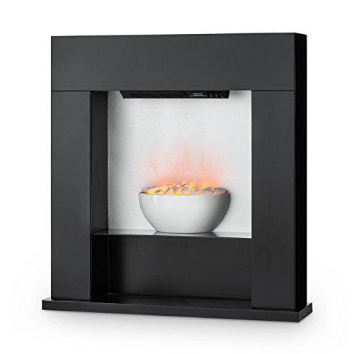 Klarstein Studio-8 - Elektrischer Kamin, Heizlüfter, Elektrokamin, Flammenillusion, unabhängig von Heizlüfter, 1000/2000 Watt, Lounge-Stil, LED-Beleuchtung, Überhitzungsschutz, schwarz