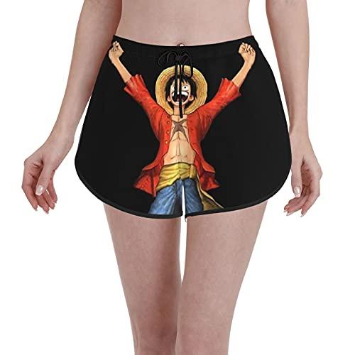 LAOLUCKY Pantalones cortos de playa de secado rápido para mujer, pantalones cortos de playa, con cordón para verano, pantalones cortos de yoga, One Piece Monkey D. Luffy 4, S