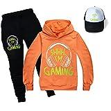 Can't Hear You I'm Gaming Kids Hoodie Pantalones Set Kids Top Cómodo Jumper Unisex Moda Trajes Youtube Merch, naranja, 3-4 Años