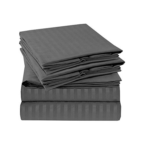 600-Thread-Count Best 4 PC Sheet Set 100% Long-Staple Combed Cotton Bedding Sheets for Bed, Fits Mattress Upto 18'' Deep Pocket, Soft & Silky Sateen Weave - (Dark Grey Stripe, RV King)