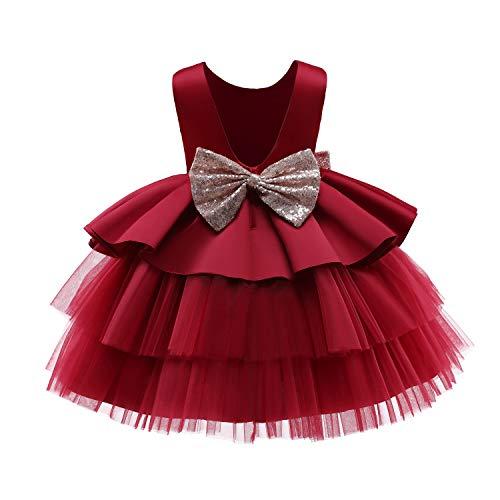 NNJXD Bebé Niñas Princesa Vestido Bowknot Lentejuelas Vestidos Pompa Boda Vestido de tutú Talla90 (1-2 años) 730 Rojo-A