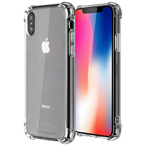 iPhone X Hülle Handyhülle, iPhone XS Hülle Handyhülle, Jenuos iPhone 10 Silikon Schutzhülle Transparent Bumper TPU mit Anti-Rutsch Crystal Case für iPhone X/XS/10 5.8