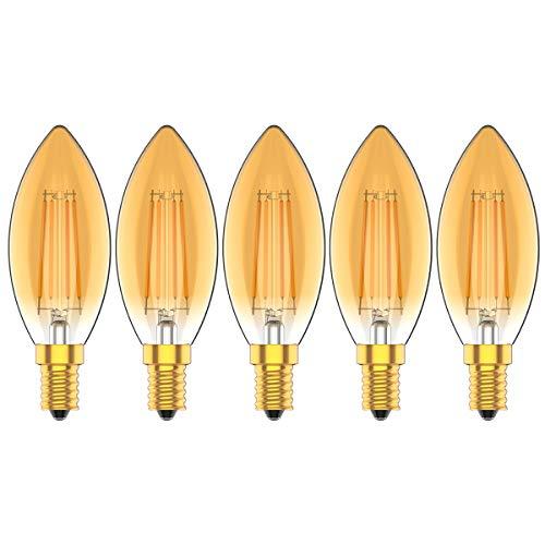 Vintage Bombillas LED E14 Regulable Vela 4W equivalente a 30W, 300 lúmenes, Blanco Calido 2700K,Bajo Consumo,Vidrio Claro,AC 220V