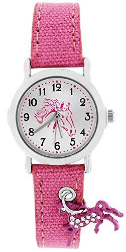 Crystal blue Mädchen Uhr Analog Quarz mit Textilarmband 20015