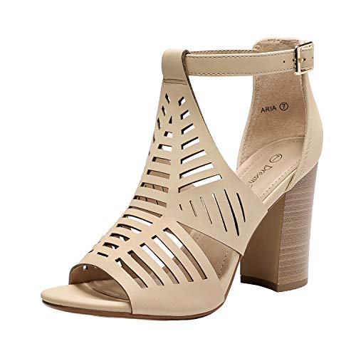 DREAM PAIRS Women's Nude Nubuck Open Toe Ankle Strap High Chunky Stacked Heel Sandals Cutout Dress Shoes Size 7.5 B(M) US Aria