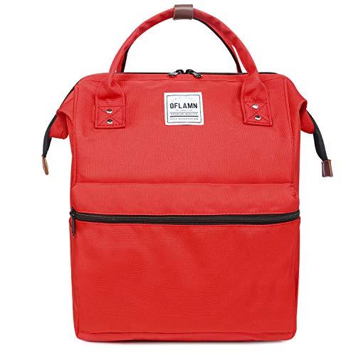 Oflamn Mochila para Mochila portátil Bolsa de Escuela de Lona Unisex Vintage Daypack para Hombres y Mujeres, Colegio y niños (Rojo)