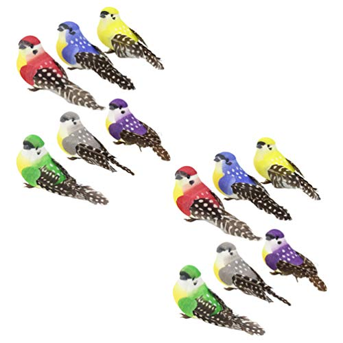 Cabilock 12pcs Artificial Feathered Birds Simulation Birds Clip- on Christmas Tree Ornament Small Bird Figurine for Home Indoor Outdoor Garden Easter Party Favors