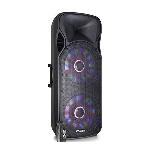 "Fenton FT215LED Aktiv-Lautsprecher - 2 x 15\"" Woofer, Ausgangsleistung: 1600 W, Bluetooth/USB/SD / MP3 / AUX-In/Guitar-In, LED-Show im Woofer, Akku, Fernbedienung, inkl. 2 x UHF-Mikrofon"