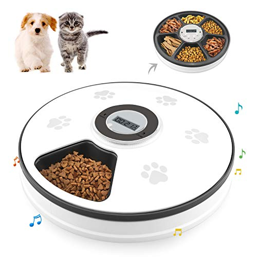 Chintu Automatic Cat Feeder with Timer - Dog Food Dispenser for Cats and Small Dog with Voice Reminder Portion Control 6 Meals Tray Programmable Timed Auto Pet Feeder