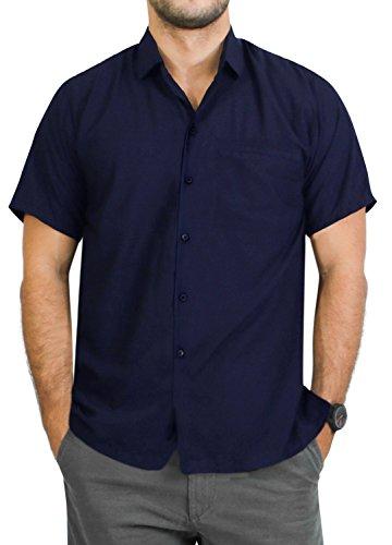 LA LEELA Casual Hawaiana Camisa para Hombre Señore Manga Corta Bolsillo Delantero Surf Palmera Caballero Playa Aloha 3XL(cms):152-162 Azul Marino_W871