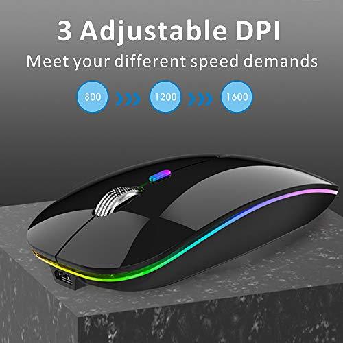 Maus Kabellose Wireless Mouse, 2.4Ghz LED Funkmaus wiederaufladbar, leise Schnurlos Kabellos Optische Maus mit USB Nano Empfänger für PC/Tablet/Laptop Computer (glänzend schwarz)