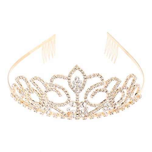 Pixnor Golden Crystal Strass Hochzeit Tiara Braut Krone Tiara Haarreif Diadem Verschluss Clip Haarnadel