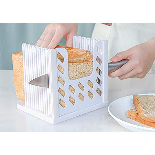Bread Slicer Adjustable Foldable Bread Toast Slicer Loaf Sandwich Folding Machine Cutting Guide Plastic Cutter Home Tools Kitchen Accessories (36-White-1pcs)