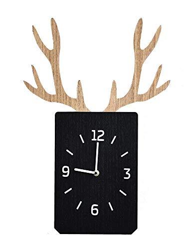 LHQ-HQ Reloj de pared sin clics moderno decoración nórdica creativa Ins Cuerno reloj de pared sala de estar pared dormitorio reloj silencioso cuadrado de madera reloj despertador para el hogar