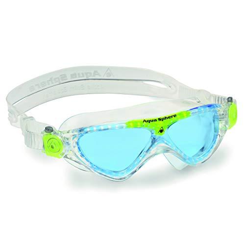 Aqua Sphere Vista Junior Swim Mask with Blue Lens (Clear/Lime). UV Protection Anti-Fog Swim Goggles for Kids