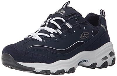 Skechers Sport Women's D'Lites Memory Foam Lace-up Sneaker,Me Time Navy/White,8.5 M US