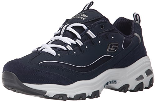 Skechers Sport Women's D'Lites Memory Foam Lace-up Sneaker,Me Time Navy/White,9 M US