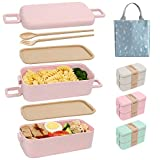 SAYOPIN Bento Box for Kids & Adults, 2-In-1 Compartment, Wheat Straw, With Spoon & Fork - Durable and Microwave-Safe Japanese Bento Lunch Box (Pink)