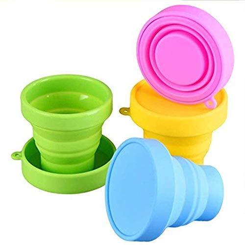 Taza plegable de silicona con tapa, 4 piezas, tazas de agua plegables portátiles para esterilizar vasos menstruales y almacenar tu div